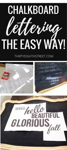 Simple Chalkboard Lettering PLUS A Free Fall Printable! How To Hand Letter Without ANY Skills! Hand Lettering For Chalk Board Signs. #diy #diysigns #falldecor