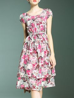 Multicolor Tie-Waist Floral A-Line Dress