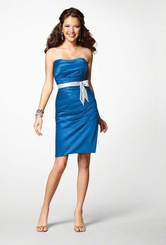 Brides.com: . Blue Bridesmaid Dress: Alfred Angelo. Strapless knee-length dress, style 7123, $179, Alfred Angelo  See more Alfred Angelo bridesmaid dresses.  Shop this look at Weddington Way.