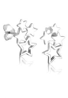 Wunderschöne Ohrstecker Sterne (10x17mm) aus feinem 925er Sterlingsilber, hochglanzpoliert.  Produktdetails: Höhe: 10mm, Breite: 7mm, Gewicht: 1,8g, Optik: glänzend,  ...
