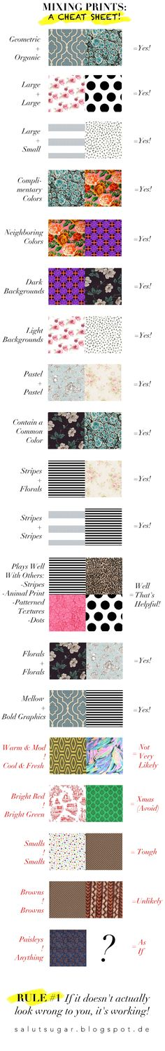 Mixing Prints: A Cheat Sheet! Read more at http://salutsugar.blogspot.de/2015/07/mixing-prints-cheat-sheet.html