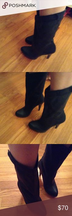 """BCBGeneration Black Yaselle Mid Calf Boot size 7.5 Super cute pair of mid calf BCBGeneration black boots in 7.5. Shaft is approximately 10.5"""" and heel is approximately 4.25"""". Worn only a few times. B2 BCBGeneration Shoes Heeled Boots"""