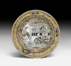 GRISAILLE TELLER MIT GOLD UND SILBER. China, 18. Jh. D 22,6