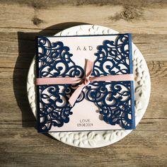 navy blue and blush pink laser cut wedding invitation cards EWWS072