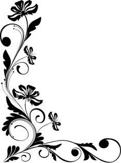 Frame Border Design, Page Borders Design, Flower Pattern Drawing, Flower Patterns, Drawing Borders, Wedding Drawing, Simple Borders, Tangle Art, Art Corner