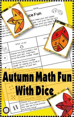 Easy-prep math center activity for fall. Addition, subtraction, and place value, all with a roll of the die! $  https://www.teacherspayteachers.com/Product/Computation-and-Place-Value-Autumn-Dice-Fun-1432677