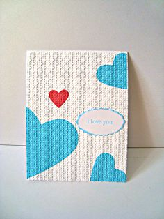 Red heart Blue heart I love you card  Engagement by Wcards on Etsy, $3.00