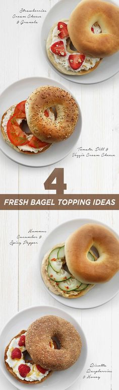 Fresh Bagel Toppings: Create new ways to enjoy a Thomas' Bagel with these simple and delicious combinations. Breakfast Recipes, Snack Recipes, Cooking Recipes, Breakfast Bagel, I Love Food, Good Food, Yummy Food, Tasty, Bagel Toppings