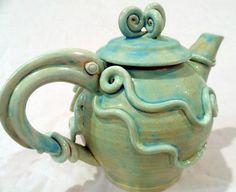 Gorgeous Sea Green Squid Octopus #Teapot Tea Pot $130