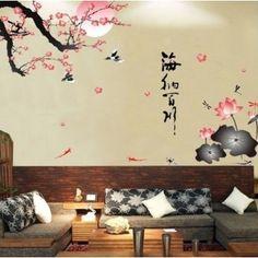 Nálepky na stenu - lotosový kvet a konár stromu