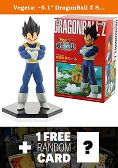 """Vegeta: ~5.1"""" DragonBall Z Super Figure Collection + 1 FREE Official DragonBall Trading Card Bundle. This ~5.1"""" sculpture of Vegeta is part of the DragonBall Z Super Figure Collection from Banpresto! Banpresto creates this series and aims to create a collection of product that is made of super quality figures. In addition, the sculptor of each figure in this series are all artists who have years of experience in creating DragonBall figures -- some of them have even created over 100 of..."""