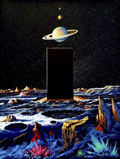'Iapetus: The Monolith Waits' by Steve Dodd. A brand new painting from Steve Dodd, his first new space/scifi painting in nearly 30 years. It is based on Arthur C Clarke's book of 2001 rather than the movie. Steve Dodd is a US artist who was at. Arte Sci Fi, Aliens, Sci Fi Kunst, Science Fiction Kunst, Psychedelic Space, 2001 A Space Odyssey, Les Reptiles, 70s Sci Fi Art, Sci Fi Books