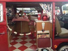 Inside a VW camper van. Car Volkswagen, Vw T1, Campervan Interior, Campervan Ideas, Bus Interior, Vw Camping, Camping Life, Glamping, Hippie Camper