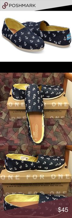 Toms Classic Navy Anchors Brand new Classic Toms! Navy denim with embroidered anchors. Toms Shoes Flats & Loafers