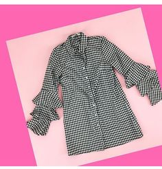 Smart Casual Shirts, Pink Cadillac, Fashion Boutique, Gingham, Work Wear, Button Up, Bell Sleeve Top, Blouses, Tops