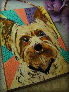 Pet Portrait  Yorkie Hand Painted in Acrylic by MariangelaArt, $18.00