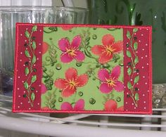 Embroidered Fabric Postcard Butterfly Flowers ♥ by QuiltQuints, $9.00