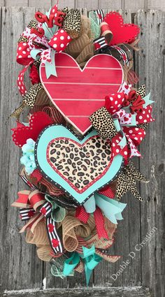 Love Wreath, Valentine's Wreath, Heart Wreath, Valentine's Decor, Valentine Door Hanger, Valentine Wreath For The Front Door, Heart Decor by ADoubleDCreation on Etsy