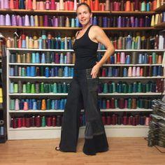 Bell Bottom Black Denim Jeans Recycled Low Rise от sewsomer