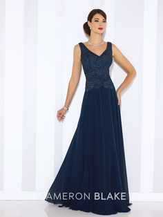 Cameron Blake - 116654 - Sleeveless chiffon A-line gown with front and back V-necklines, ribbon work bodice with slight dropped waist, flyaway skirt. Matching shawl included.Sizes: 4 – 20Colors: Heather, Rose, Dark Raspberry, Navy Blue, Persian Blue