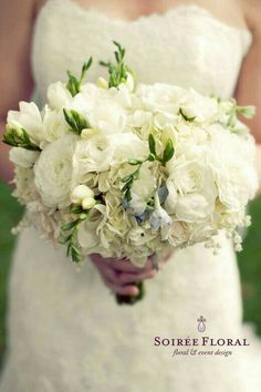 "Beautiful Wedding Bouquet Showcasing: White Ranunculus, White Hydrangea, White Freesia, ""Something Blue"" Delphinium + Lily Of The Valley ••••"