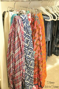 Organized Scarves - use a belt hanger!