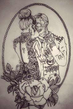 couple punk tattoo, so cute Jj Tattoos, Zombie Tattoos, Skeleton Tattoos, Paar Tattoos, Kunst Tattoos, Bild Tattoos, Future Tattoos, Tattoo Drawings, Body Art Tattoos