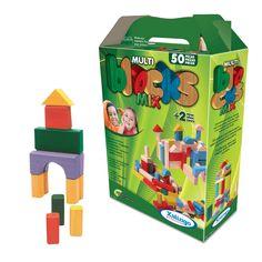 5283.2 - Multiblocks Mix | Com 50 peças em madeira natural e madeira colorida com tinta atóxica. | Faixa etária: + 2 anos | Medidas: 23,5 x 8 x 31 cm | Educativos | Xalingo Brinquedos | Crianças