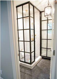 dark floor, white shower liner thingy