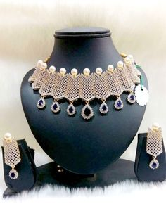 Bridal Bollywood Style Wedding Jewelry American Diamond Gold Plated Necklace Set…