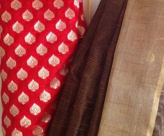 Bronze net kota saree with gold zari woven border and red pure silk brocade blouse by GiaExquisiteIndian on Etsy