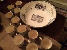 VINTAGE GRAYS POTTERY ENGLAND TOM & JERRY EGGNOG PUNCH BOWL AND 12 CUPS #GRAYSPOTTERYSTOKEONTRENTENGLAND
