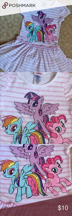 Officially Licensed My Little Pony girls dress Officially Licensed My Little Pony girls dress features adorable graphic of several ponies highlighted with glamorous Bling! My Little Pony Dresses Casual