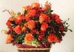 Canasta floral, rosas naranja-coral
