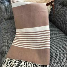 Fouta tunisienne drap de plage - ADGArt Weaving Projects, Blankets, Weave, Textiles, Stripes, France, Fabric, Gifts, Tejidos