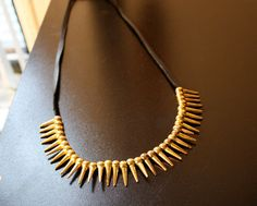 Tribal Borders Brass Leather Spike Necklace