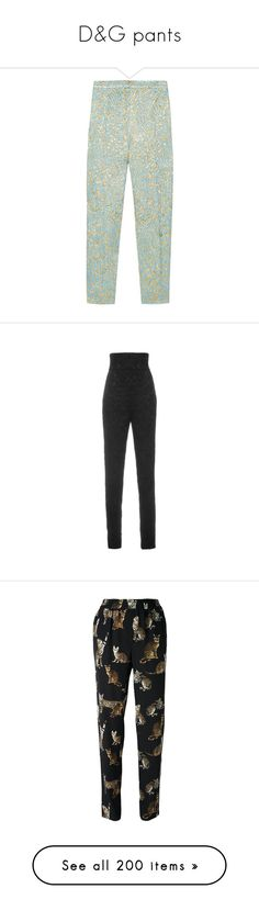 """D&G pants"" by alina-chipchikova ❤ liked on Polyvore featuring pants, capris, bottoms, trousers, jeans, turquoise, high-waist trousers, zipper pants, cropped capri pants and high-waisted pants"