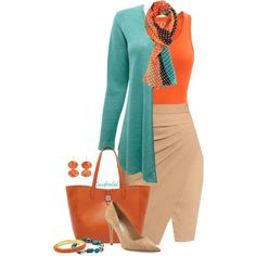 A fashion look from September 2014 featuring EAST cardigans, L'Agence skirts and Diane Von Furstenberg pumps. Browse and shop related looks. Classy Outfits, Chic Outfits, Fall Outfits, Fashion Outfits, Womens Fashion, Orange Outfits, Petite Fashion, Mode Outfits, Office Outfits