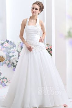 Lovely A-Line Halter Court Train Organza Wedding Dress CWLT1308A