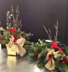 Rustic Christmas floral arrangements. 2015 Laura A. Tulsa Michaels (3864)