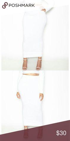 Bodycon Cotton Maxi Skirt - White Size: 1X  95% Cotton   5% Stretch  Maxi Length  Elastic on Waist  Imported  Machine Wash Skirts Maxi