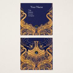 Sail Boat,Dolphins,Waves Gold,Navy Blue Nautical Square Business Card #travel #nautical #sailing #sea #ocean #wedding