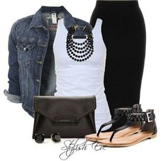 Casual outfit for the summer - black pencil skirt, denim jacket, white tank top and flat sandals. Black Pencil Skirt Outfit, Pencil Skirt Casual, Casual Skirts, Casual Outfits, Casual Wear, Pencil Skirts, Pencil Dresses, Black Maxi, Black Denim