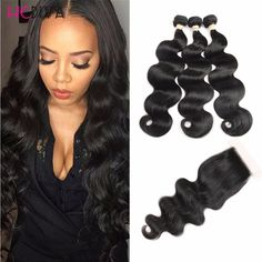 8a Grade Brazilian Body Wave 3 Bundle With Closure Brazilian virgin hair With Closure Cheap hair Bundles With Closure Deals