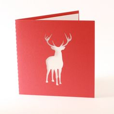 Reindeer Christmas card with blank insert by madebyloveaustralia