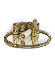 Lipstick Holder With Mirror and Lipstick Gold by CrowsCottage