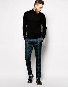 Shop Thomas Codd London Tartan Trousers at ASOS. Blue Blazer Outfit Men, Plaid Pants Outfit, Tartan Pants, Green Plaid Pants, Blue Plaid, Checkered Trousers, Winter Fashion Casual, Stylish Men, Mens Sweatshirts