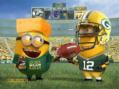 Aaron Rodgers and Cheesehead Minions - NFL Green Bay Packers Packers Baby, Go Packers, Packers Football, Football Baby, Greenbay Packers, Football Season, Football Jokes, Vikings Football, Football Stuff