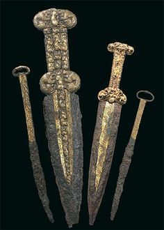 Scythian iron(!!!) daggers and knives with gold plating.  6th-5th c. BC, from Arzhan - 2, Scythian royal necropolis in Tuva, Southern Siberia.
