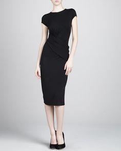Crewneck Wrap Jersey Dress, Black by Michael Kors at Neiman Marcus.
